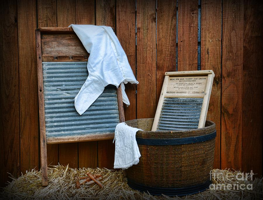 Vintage Washboard Laundry Day Photograph  - Vintage Washboard Laundry Day Fine Art Print