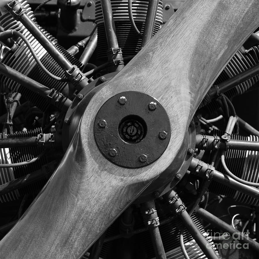 Vintage Wood Propeller - 7d15828 - Square - Black And White Photograph