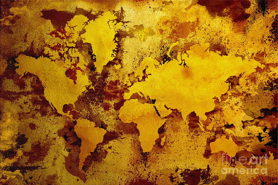 Vintage World Map Digital Art  - Vintage World Map Fine Art Print