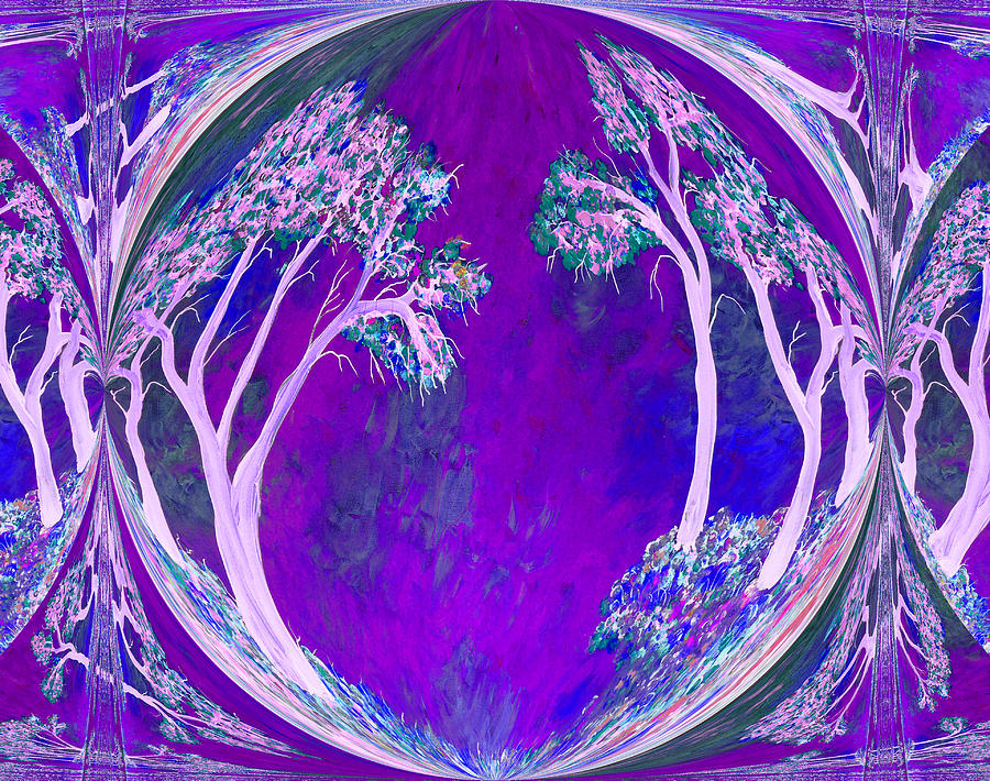 Violet And Blue Winter Trees Painting  - Violet And Blue Winter Trees Fine Art Print