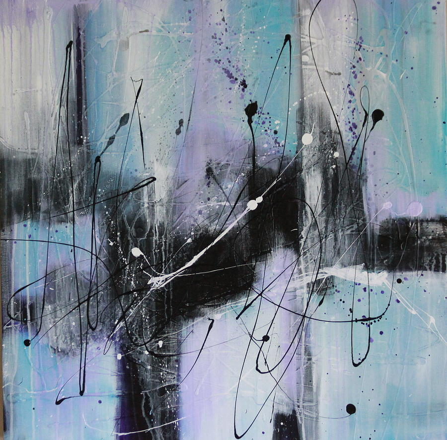 Mixed Media Acrylic Textured Contemporary Abstract Painting  In Blues And Violets   Painting - Violet Fields by Lauren Petit