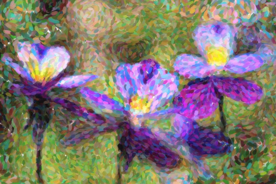 Violet Flowers Mixed Media