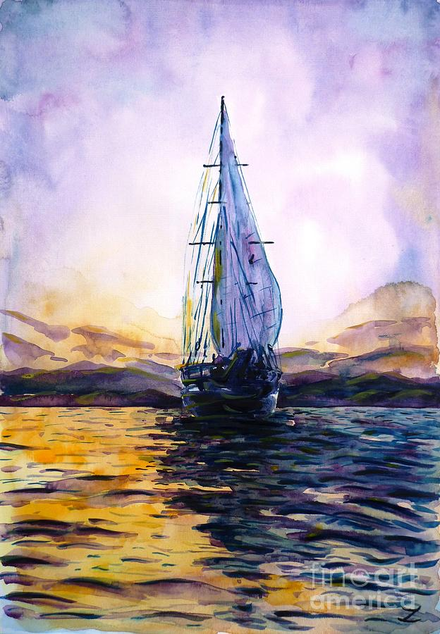 Violet Sunset Painting