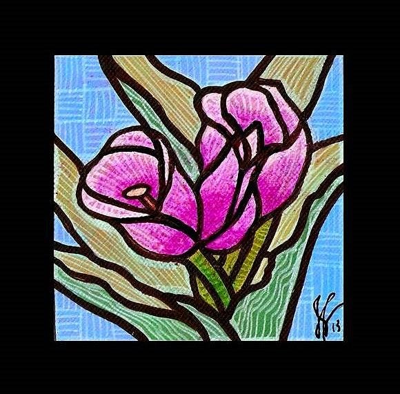 Violet Tulip Trinity Painting