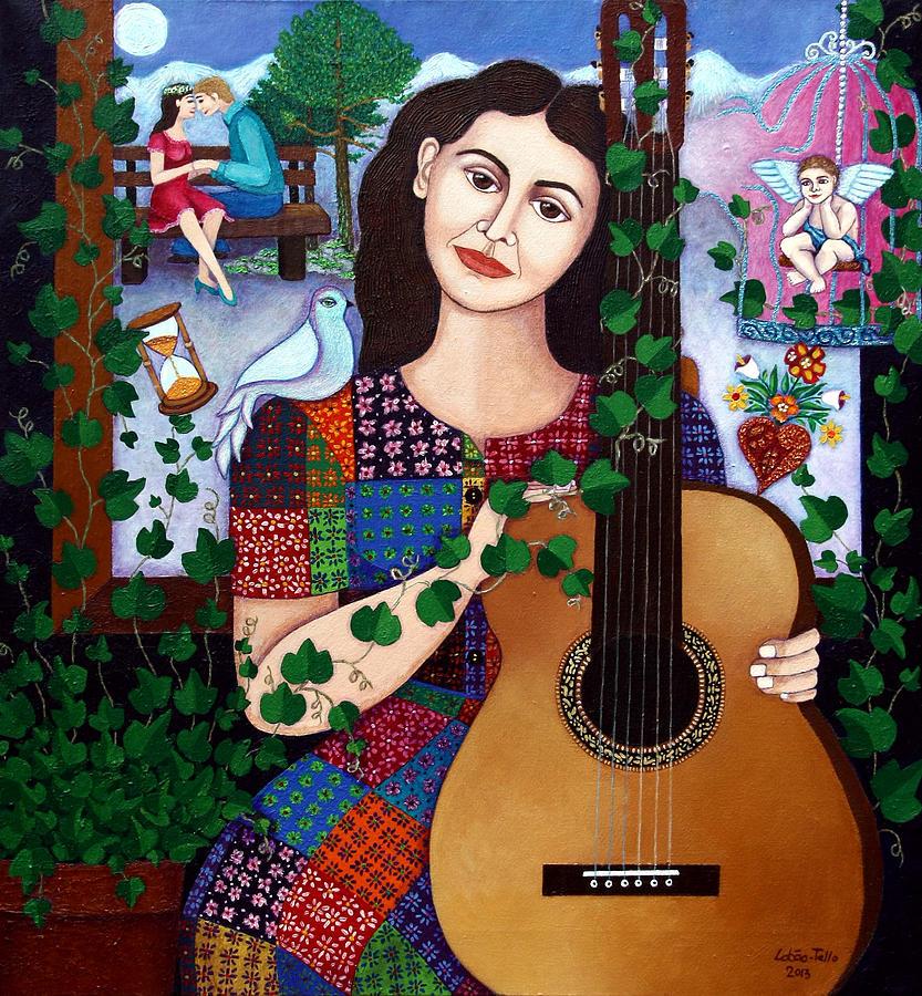Violeta Parra Painting - Violeta Parra Back At Seventeen   by Madalena Lobao-Tello