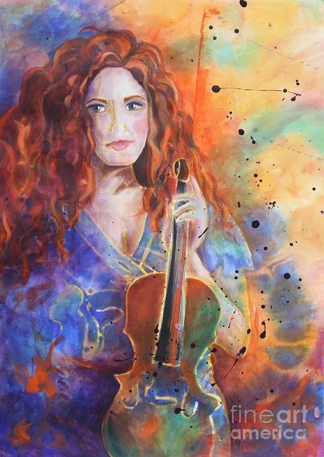 The gallery for --> Girl Playing Violin Painting