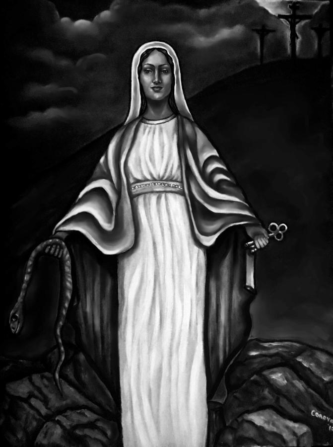 Virgen Mary In Black And White Painting