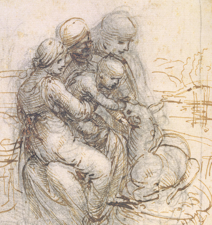 Virgin And Child With St. Anne Drawing