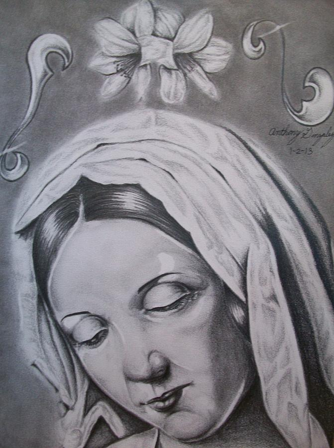 Virgin Mary Drawing - Virgin Mary by Anthony Gonzalez