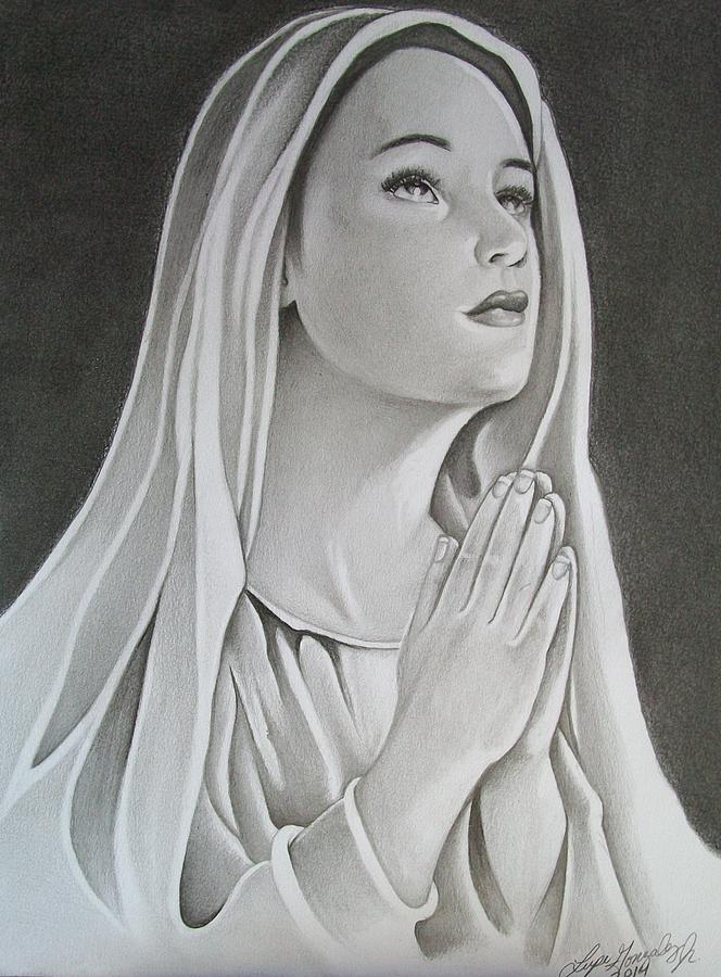 Line Drawing Virgin Mary : Virgin mary in prayer drawing by lupe gonzalez