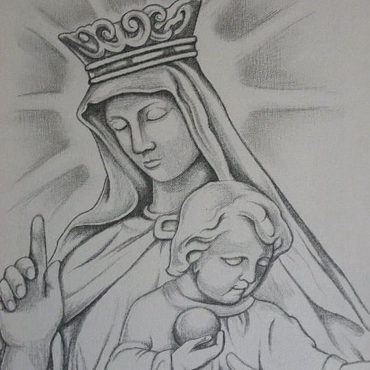 Virgin Mary Statue Drawing Drawing by Lupe Gonzalez