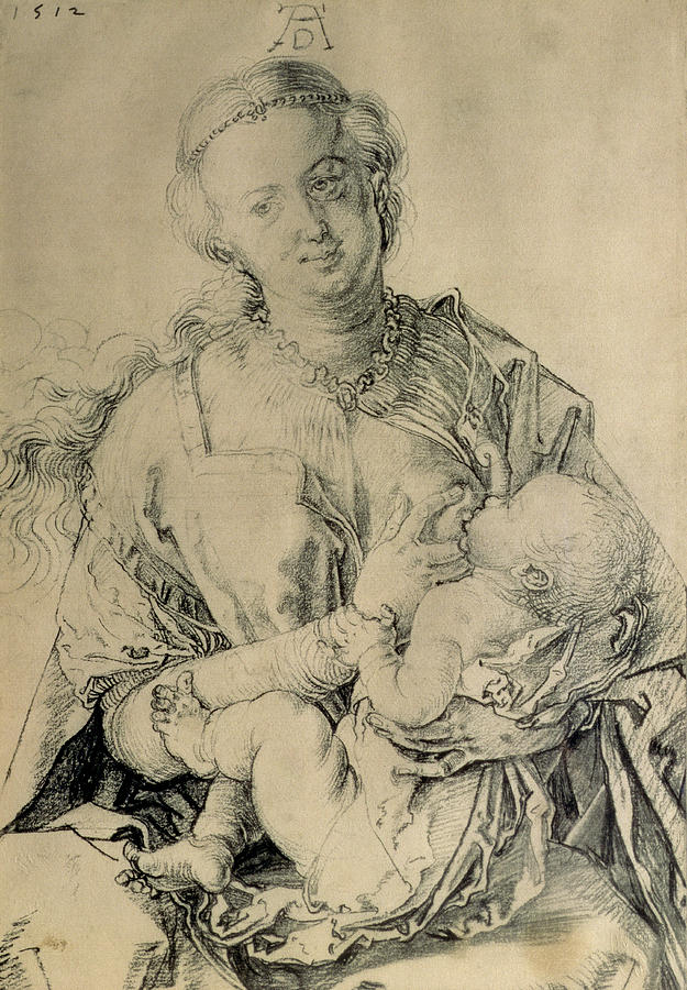 Virgin Mary Suckling The Christ Child, 1512 Charcoal ...