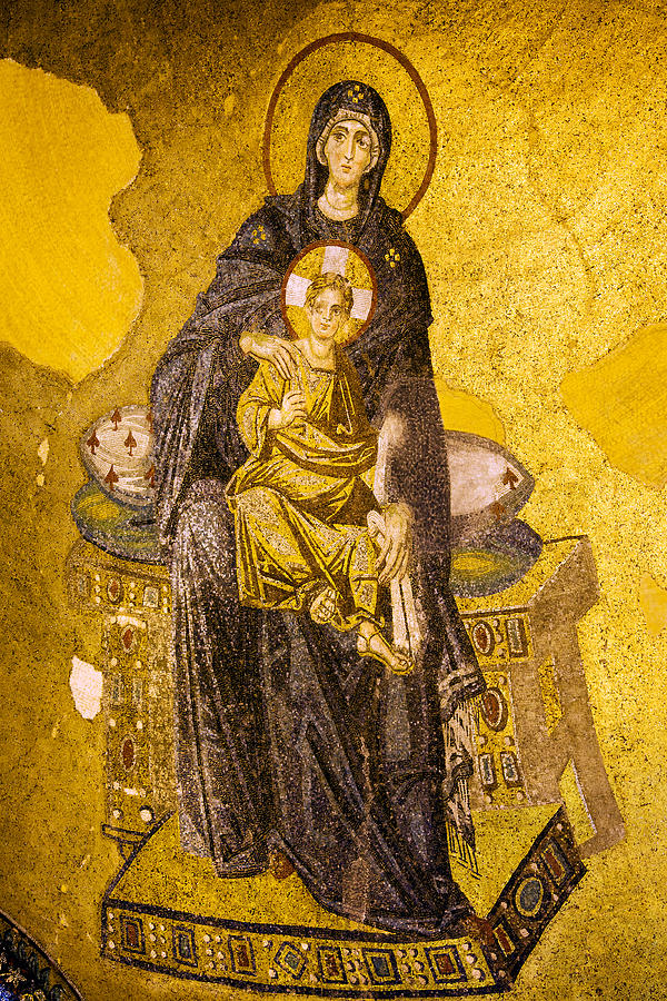 Virgin Mary With Baby Jesus Mosaic Photograph