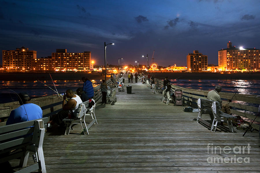 Atlantic Ocean Photograph - Virginia Beach Fishing Pier by Bill Cobb