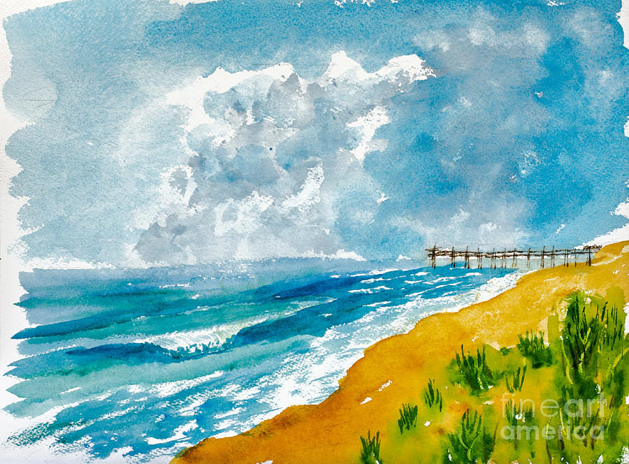 virginia beach with pier painting by walt brodis