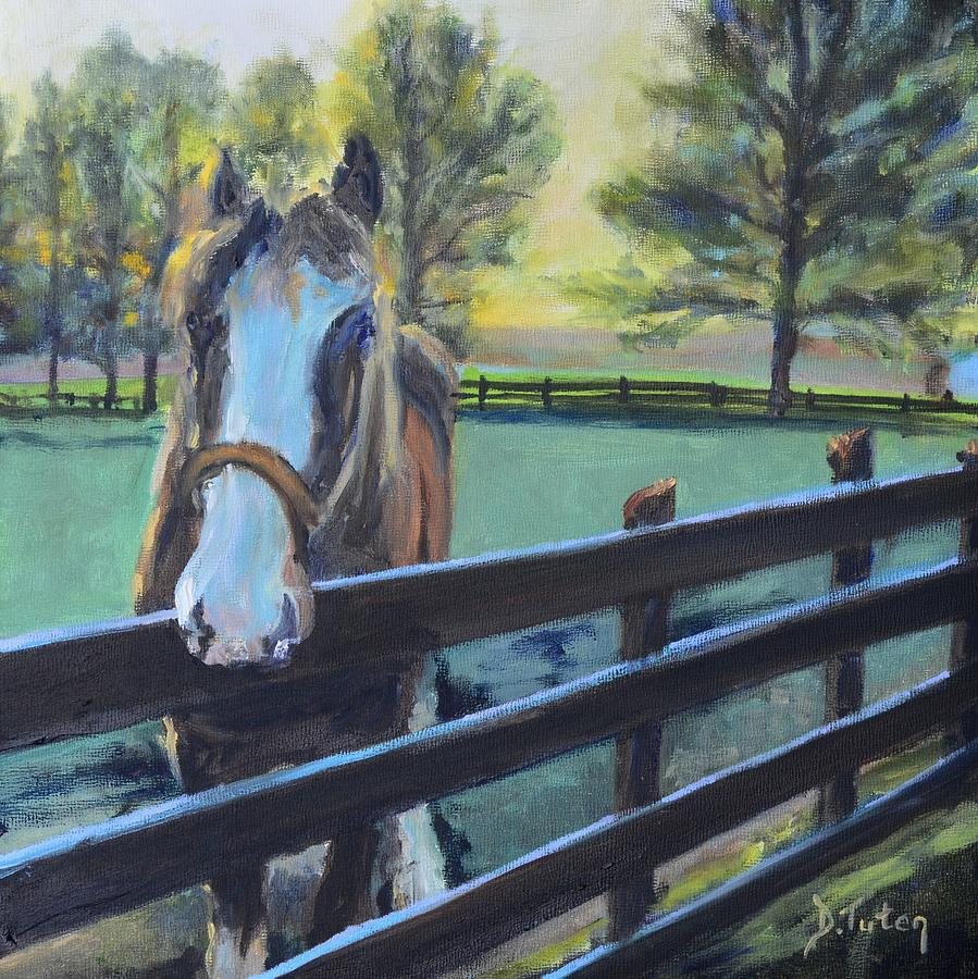 Virginia Horse Farm Morning Painting  - Virginia Horse Farm Morning Fine Art Print