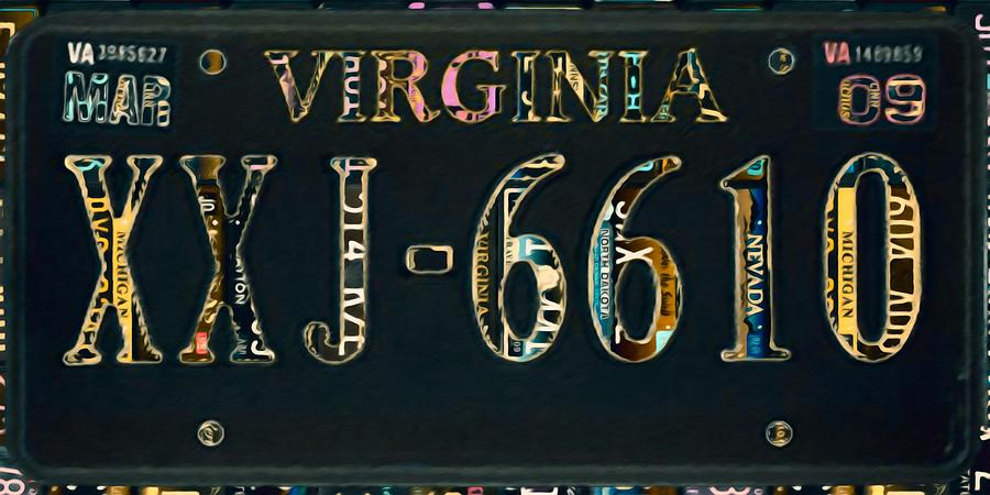 virginia license plate painting by lanjee chee