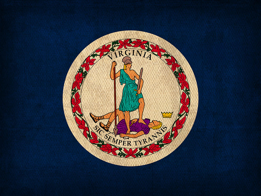 Virginia State Flag Art On Worn Canvas Mixed Media  - Virginia State Flag Art On Worn Canvas Fine Art Print
