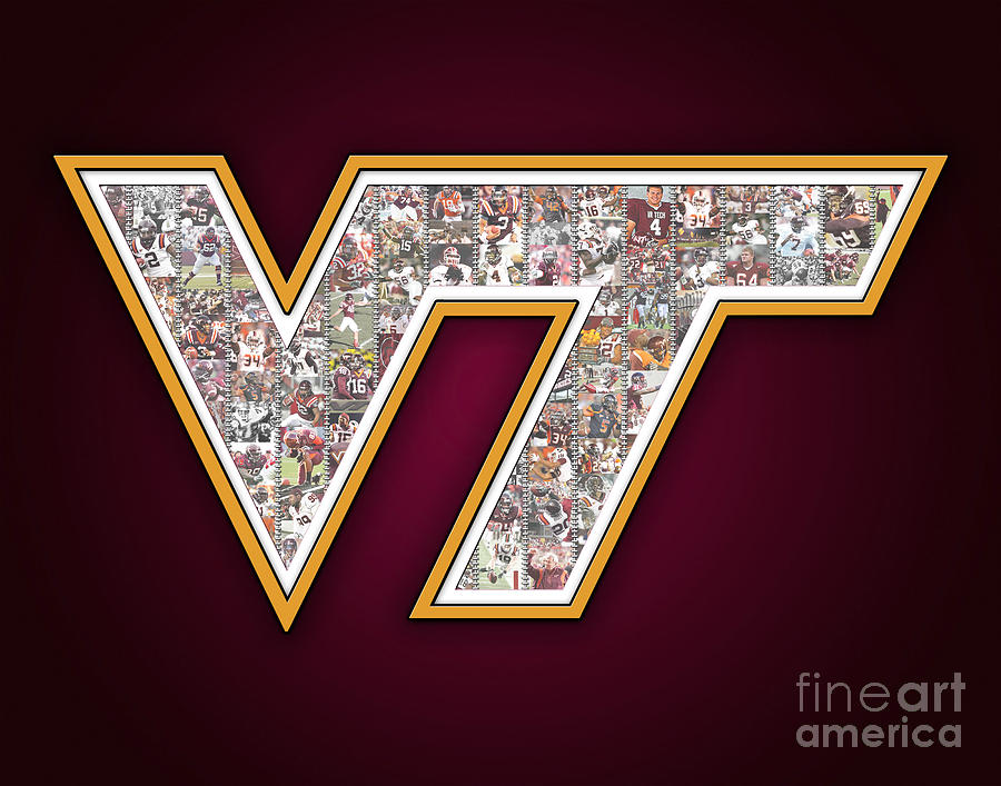 Virginia Tech Football Digital Art  - Virginia Tech Football Fine Art Print