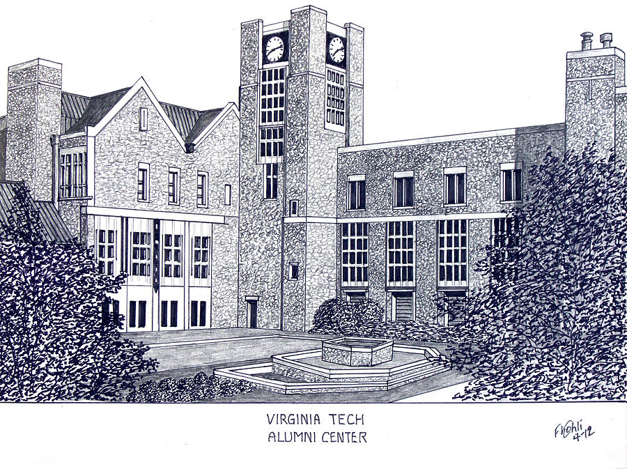 Pen And Ink Drawings Drawing - Virginia Tech by Frederic Kohli