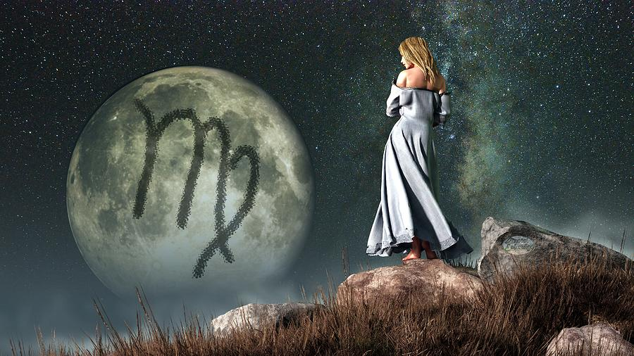 Virgo Zodiac Symbol Digital Art