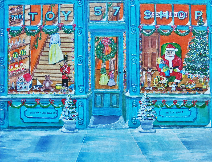 Visit To The Toy Shop Santa Painting  - Visit To The Toy Shop Santa Fine Art Print