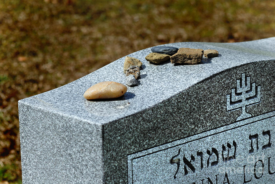Visitation Stones On Jewish Grave Photograph  - Visitation Stones On Jewish Grave Fine Art Print