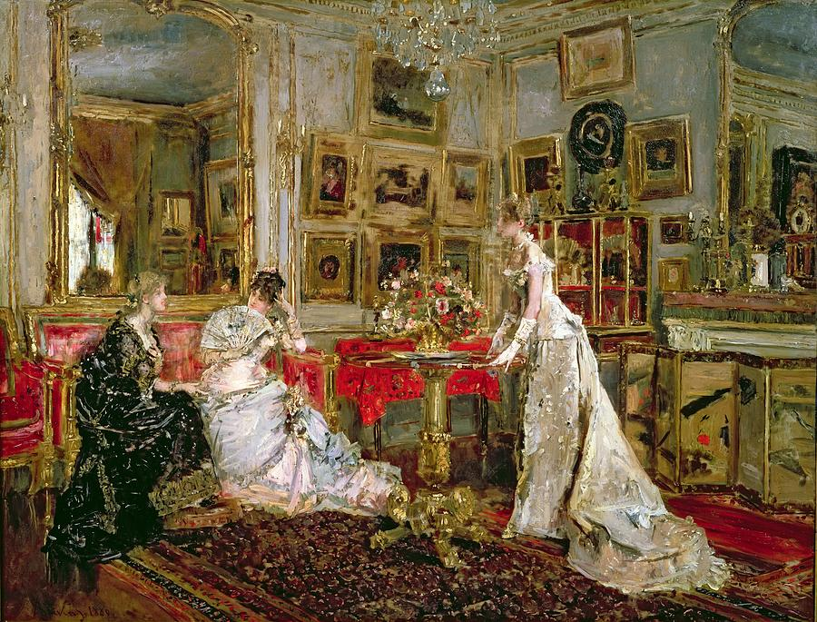 Interior Painting - Visiting by Alfred Emile Stevens