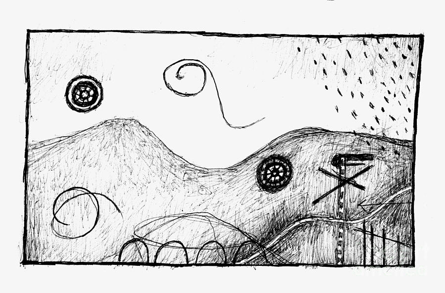 Visual Metaphors - Rolling Hills Drawing by Andy Mercer