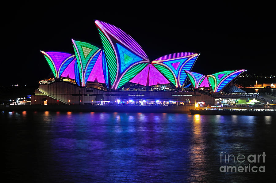 Vivid Sydney By Kaye Menner - Opera House... Patterns 2 Photograph  - Vivid Sydney By Kaye Menner - Opera House... Patterns 2 Fine Art Print