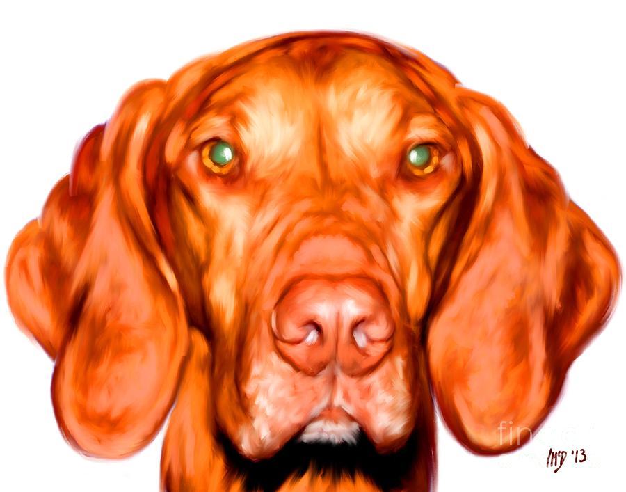 Vizsla Dog Art Portrait Painting