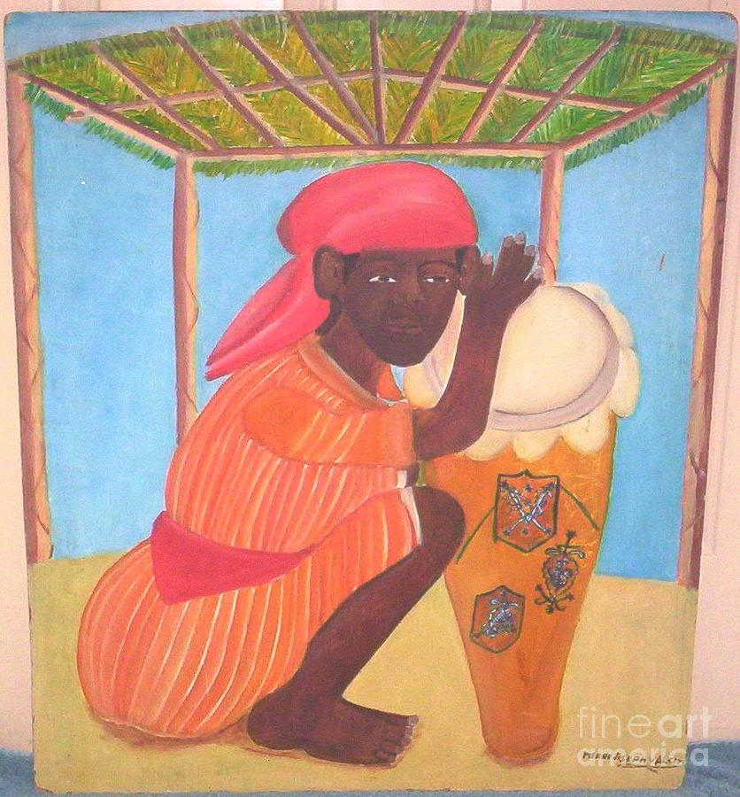 Vodou Priest With Drum Painting