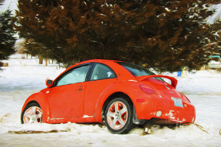 Andee Design Car Photograph - Volkswagen Snow Day by Andee Design