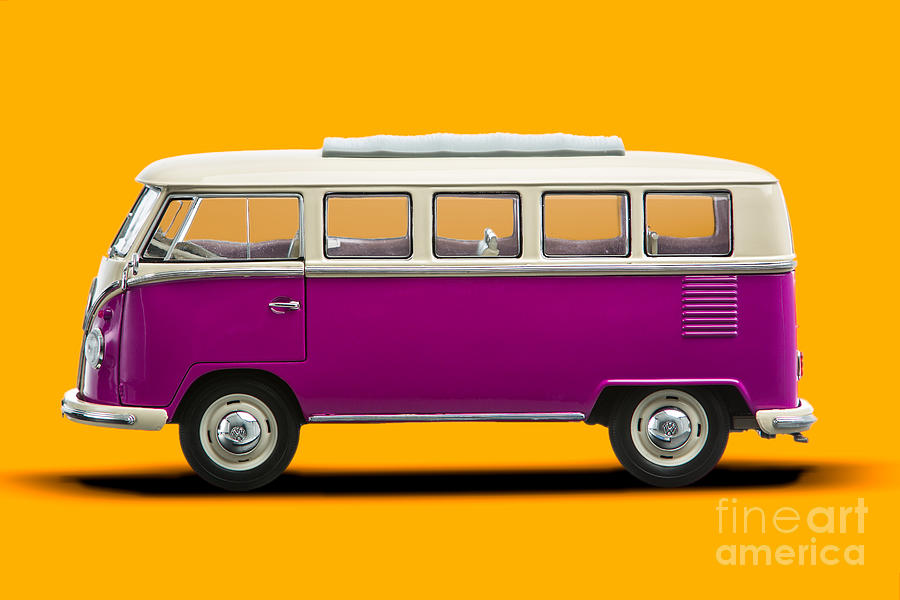 Volkswagen T1 Bus Bully Camper In Pink On Orange