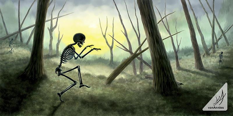 Skeleton Painting - Vorspiel The Creeping Skeleton by Annie Dunn