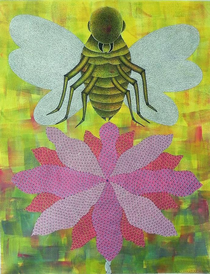 Indian Tribal Art Painting - Vrss 73 by Vankat Raman Singh Shyam