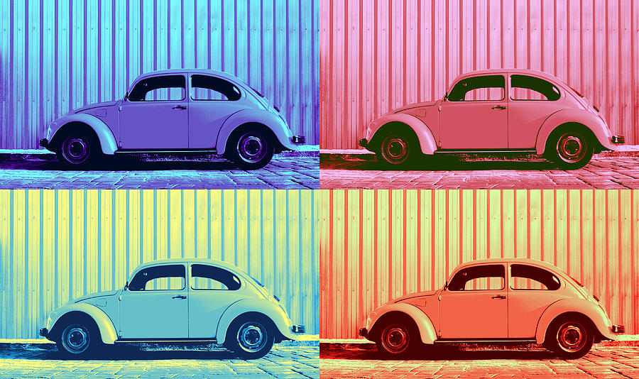Vw Beetle Pop Art Quad Photograph