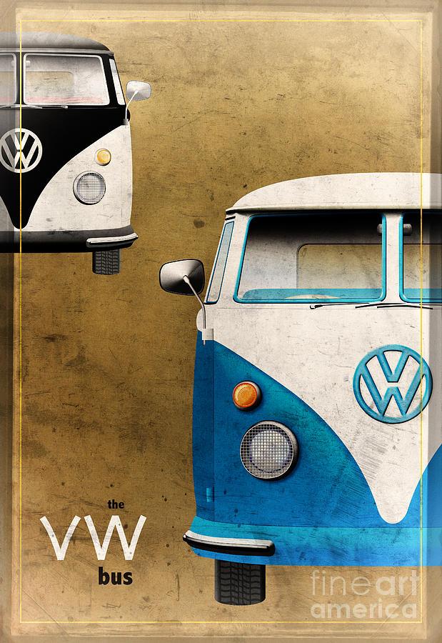 Vw Digital Art - Vw The Bus by Tim Gainey