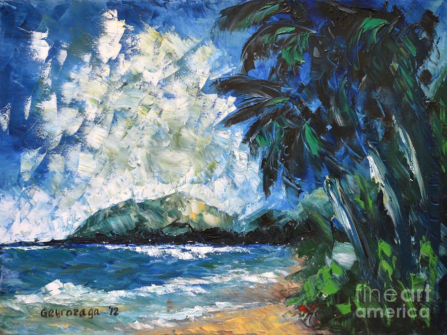 Seascape Painting - Waimanalo by Larry Geyrozaga