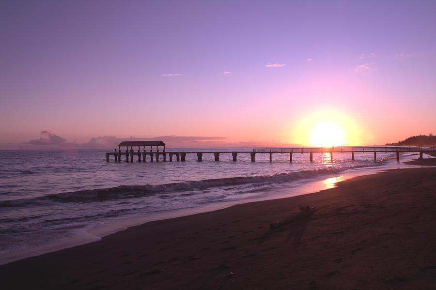 Waimea Pier Sunset Photograph