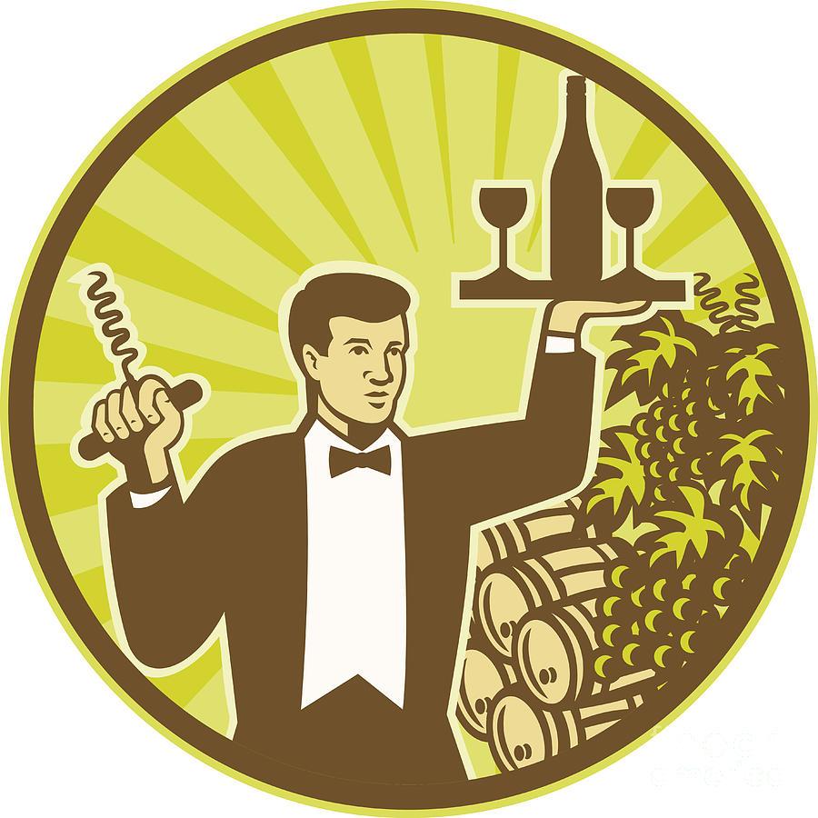 Waiter Digital Art - Waiter Serving Wine Grapes Barrel Retro by Aloysius Patrimonio