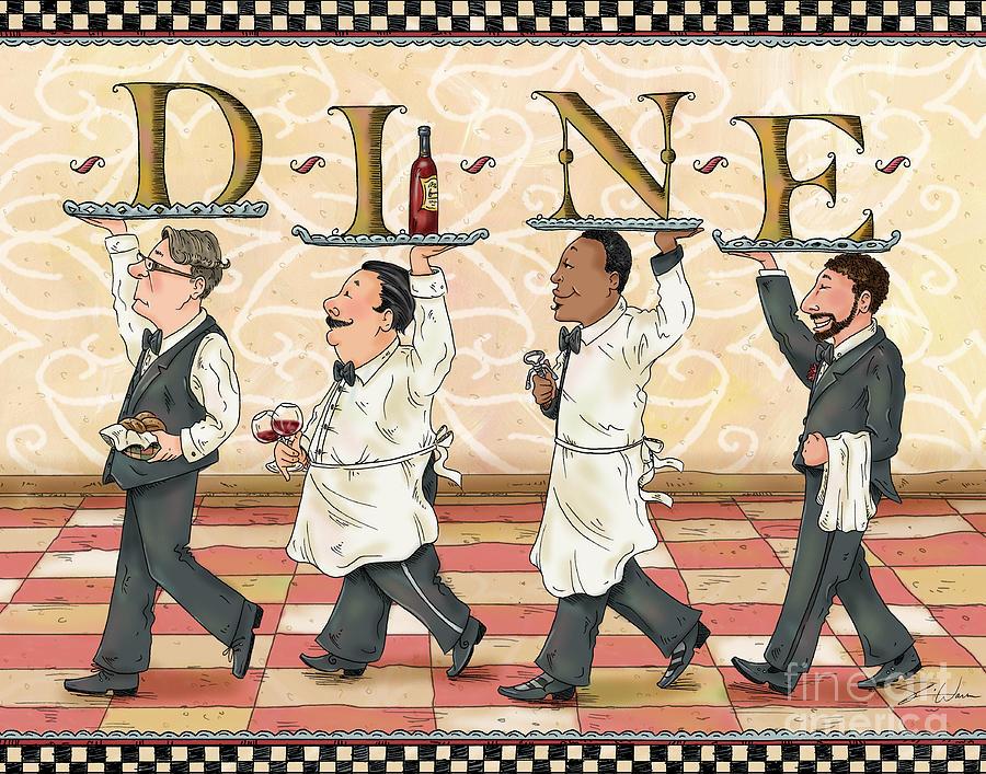 Waiters Dine Mixed Media