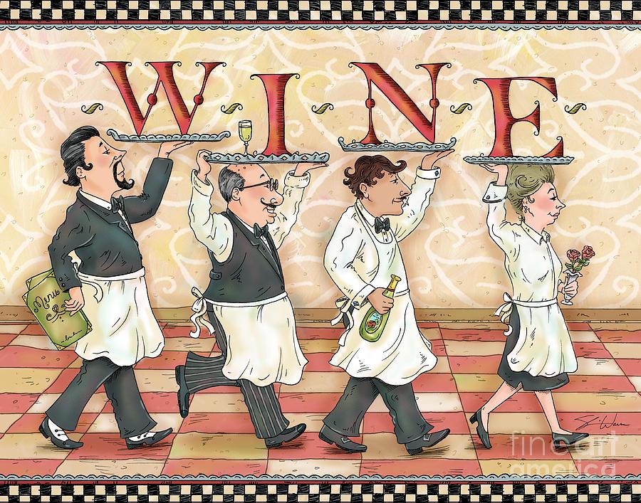 Waiter Mixed Media - Waiters Wine by Shari Warren