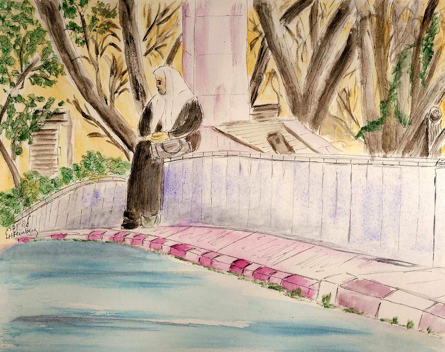 Israel Painting - Waiting For Her Ride - Jerusalem by Linda Feinberg