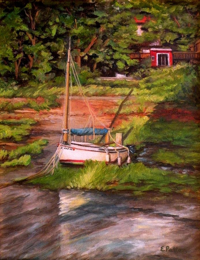 Boat Painting - Waiting For The Tide by Eileen Patten Oliver