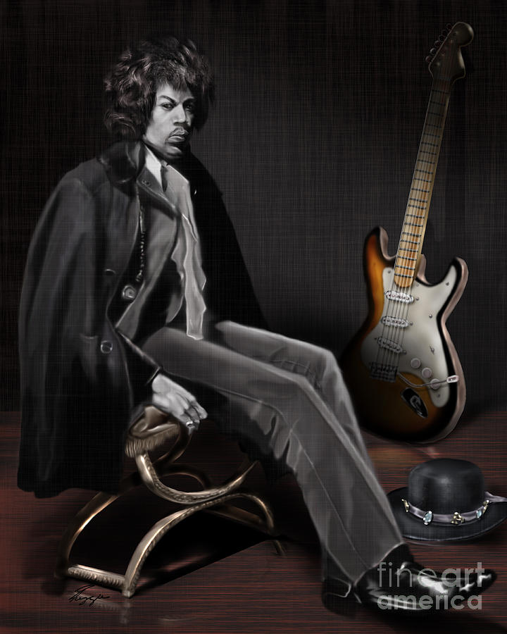 Waiting To Play - The  Jimi Hendrix Series Painting