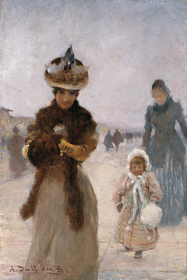 Walk, By Angelo Dalloca Bianca, 1885 Painting