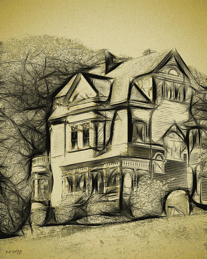 Walker-ames House Sketch Digital Art