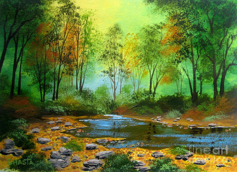 Serenity Scenes Landscapes Painting - Walker  Creek  by Shasta Eone