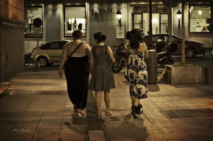 Walking At Night - Madrid Spain Photograph